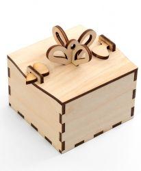 """Дървена кутия """"Подарък"""" 8х8х8см -  разглобена IDEA1304"""
