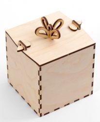 """Дървена кутия """"Подарък"""" 10х10х10см - IDEA1306"""