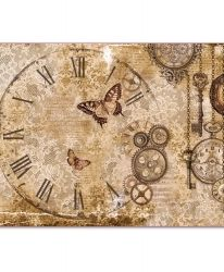 Decoupage rice paper 33x48cm - Steampunk gears, lace and butterflies DFS386