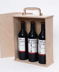 Wooden box for 3 wine bottles - IDEA1653