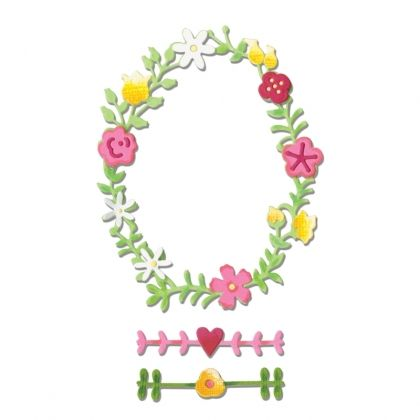 Шаблон за рязане и релеф Sizzix - Floral Wreath #2 660366