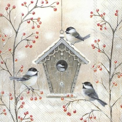 Салфетки за декупаж 25х25см, пакет 20 бр. - Beautiful Birdhouse - C834200