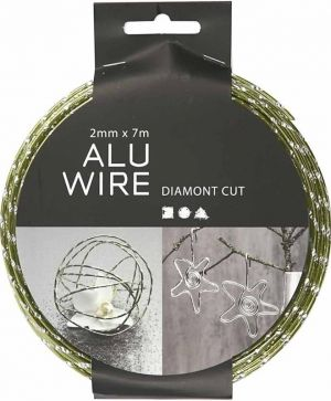 Aluminium wire diamond-cut 7m - green C518302
