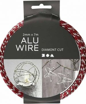 Aluminium wire diamond-cut 7m - red C518303
