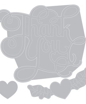 Шаблон за рязане и релеф Sizzix - Phrase, Thank You w/Hearts 660370