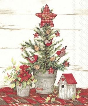 Салфетки за декупаж 33х33см пакет 20бр - COTTAGE CHRISTMAS TREE L754600