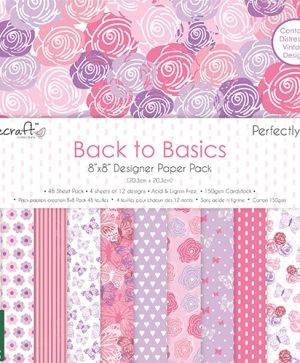 Дизайнерска хартия Back to basics 20,3x20,3см - Perfectly Pink DCPAP062