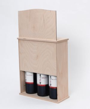 Wooden box for 3 wine bottles with sliding lid - IDEA1658