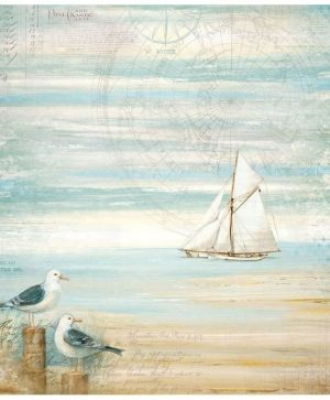 Single napkin in rice paper 50x50cm 14g - Sea land seagulls DFT334