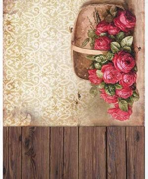 Hartie de orez pentru decoupage A4 - boards, wallpaper, basket with roses ITD-R1383