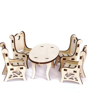Mini wooden furniture - Table with chairs IDEA1738