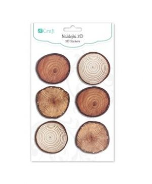 3D Стикери 6 бр  - Wood slices, round DPNK-089