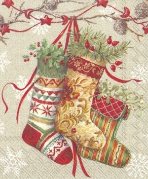 Салфетки за декупаж 33х33см пакет 20бр - Decorative stockings linen L789266