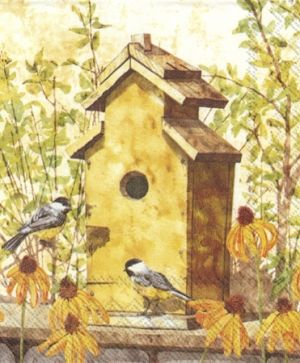 Салфетки за декупаж 33х33см пакет 20бр - Birdhouse in fall L796900