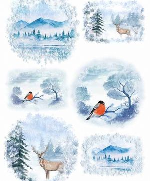Hartie de orez pentru decoupage A4 - winter views, birds ITD-R1485