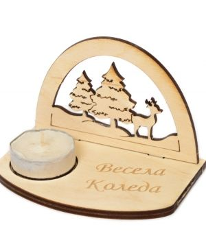 Wooden Christmas candle holder - Winter landscape IDEA1777
