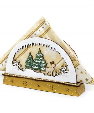 Wooden Christmas napkin holder - Winter landscape IDEA1769
