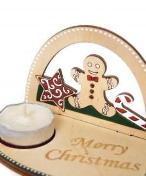 Wooden Christmas candle holder - Christmas sweets IDEA1778