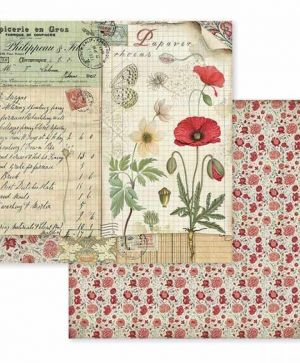Дизайнерски картон Stamperia 30.5x30.5см - Spring Botanic poppy and butterfly SBB586