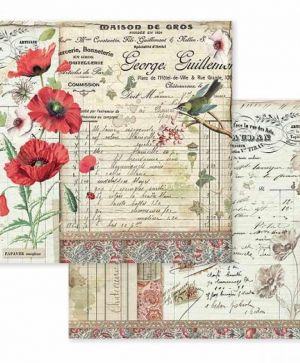 Дизайнерски картон Stamperia 30.5x30.5см - Spring Botanic poppy and little bird SBB587