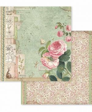 "Double face scrap paper 12""x12"" - Spring Botanic English Roses with snail SBB592"