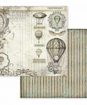 "Double face scrap paper 12""x12"" - Voyages Fantastiques air balloon SBB599"