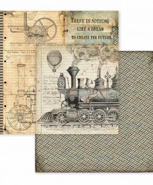"Double face scrap paper 12""x12"" - Voyages Fantastiques stream train SBB600"