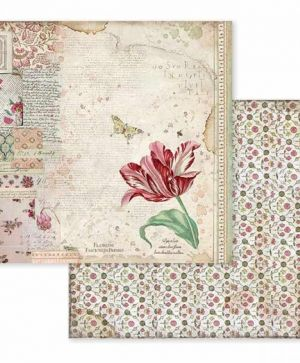 "Double face scrap paper 12""x12"" - Spring Botanic red tulip SBB604"