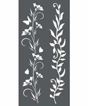 Шаблон 12x25 см - Borders Flowers and leaves KSTDL25
