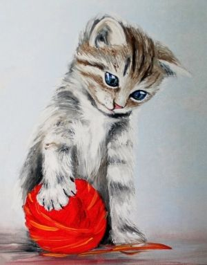 Диамантена картина 40x50см - Kitten with a red clew LG012e