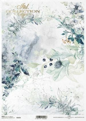 Оризова хартия за декупаж А4 - Floral compositions, leaves, plants, wild fruit, watercolor ITD-R1635