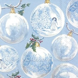 Салфетки за декупаж 33х33см, пакет 20 бр. - Winter Baubles - L883149