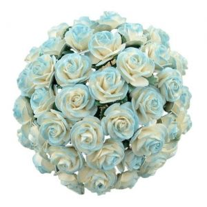 Хартиени цветя, 5 бр. - 2-TONE LIGHT TURQUOISE MULBERRY PAPER OPEN ROSES  MKX-644