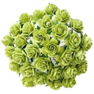 Хартиени цветя, 10бр. - LIGHT LIME GREEN MULBERRY PAPER OPEN ROSES MKX-634