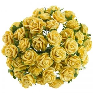 Хартиени цветя, 10бр. - YELLOW MULBERRY PAPER OPEN ROSES MKX-530-2