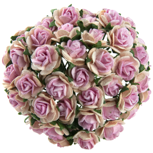 Хартиени цветя, 10бр. - 2-TONE BABY PINK WITH PINK CENTRE MULBERRY PAPER OPEN ROSES MKX-010