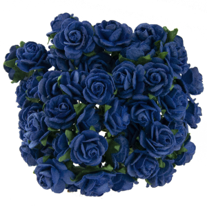 Хартиени цветя, 5 бр. - ROYAL BLUE MULBERRY PAPER OPEN ROSES MKX-023-1