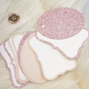 Коледни тагове 12 бр - Winter Sparkle Rose Gold Glitter Tags DCTOP188X20