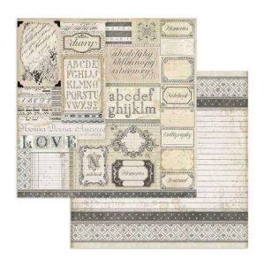 Дизайнерски картон Stamperia 30.5x30.5см -  Patchwork of labels SBB739