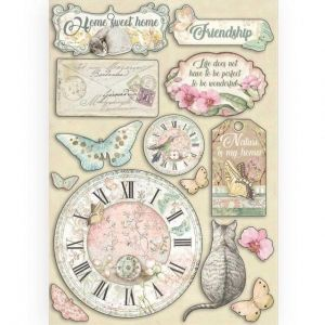 Елементи за декорация Chipboard  A5, 14.8x21 cm - Clock and labels KLSP090