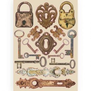 Елементи за декорация Chipboard  A5, 14.8x21 cm - Lady Vagabond locks and keys KLSP086