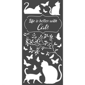 Шаблон 12x25 см - Life is better with cats KSTDL44