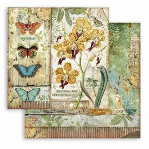 Дизайнерски картон Stamperia 30.5x30.5см -  Amazonia orchid and butterfly SBB766