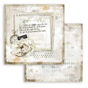 Дизайнерски картон Stamperia 30.5x30.5см - Romantic Journal letter and clock SBB783