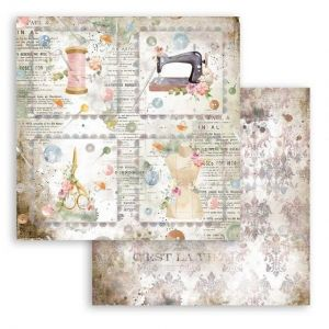 Дизайнерски картон Stamperia 30.5x30.5см - Romantic Threads cards SBB792