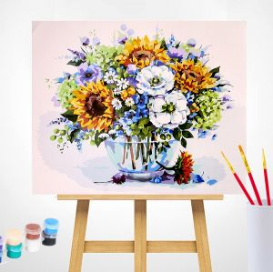 Рисуване по номера 40x50см -  Summer Bouquet with Sunflowers MG2182e